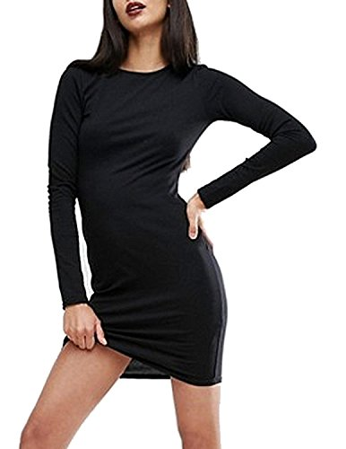 ASMAX Haoduoyi Womens Solid Slim Halloween Cut Out Backless Crewneck Long Sleeve Mini Dress(M,Black) -