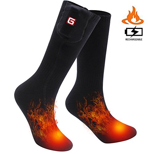 SVPRO Rechargeable Electric Heated Socks Battery Powered Comfortable Thermo-Socks,Cold Weather Thermal Socks Sport Outdoor Camping Hiking Warm Winter Socks for Men Women (Black, M-T)