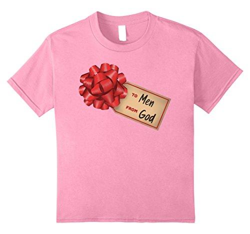 Kids Funny Halloween Costume Shirt God's Gift To Men 8 Pink