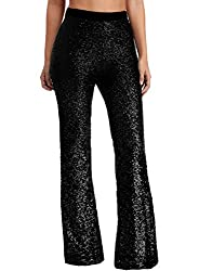Women's Sequin Flared High Waist Trousers