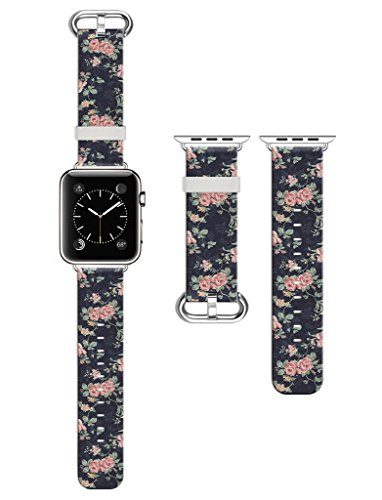 Dsigo Replacement Band for Apple Watch 42mm Series 2 Series 1, Strap Leather Bands for iwatch, Leather Sport Style Wristband, Personalized Design, Retro Pink Rose