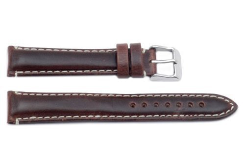 Hadley Roma MS885 20mm Long Watch Band Brown Oil Tan Leather Contrast Stitch (Brown Oil Tan Leather)