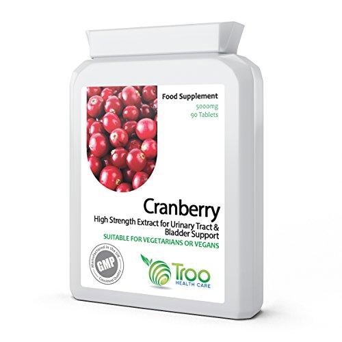 Preiselbeere Cranberry 5000 mg 90 Tabletten - Hochkonzentrierte tägliche Nahrungsergänzung für einen gesunden Urogenitaltrakt, gesunde Nieren und Blase, gesundes Herz & Herz-Kreislauf-Funktion, gesunde Durchblutung & gesundes Bakteriengleichgewicht