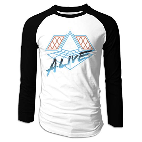 Cteeap Daft Punk - Alive Men's Game Raglan Long Sleeve Baseball T-Shirts Black -