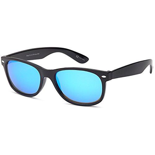 GAMMA RAY UV400 Classic Style Sunglasses - Mirror Blue Lens on Black - Optics Wayfarer