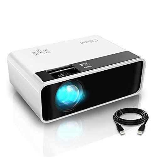 Mini proyector, Proyector de video CiBest Proyector de películas para exteriores 4500L, Proyector de cine en casa portátil LED 1080P y 200 Compatible, Compatible con PS4, PC a través de HDMI, VGA, TF, AV y USB ...