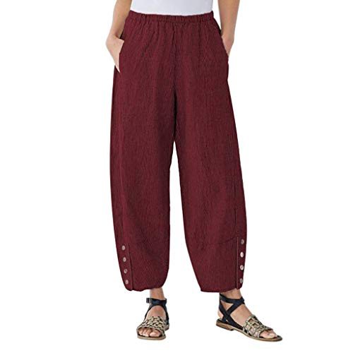 - OVERDOES Women Plus Size Corduroy Trousers Casual Button High Waist Loose Pants Pocket Red