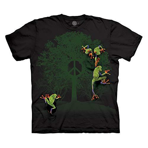 The Mountain Men's Peace Tree Frog T-Shirt, Black, - Tree Frog