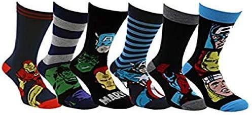 6 Pairs / 3 Pairs New Prints Marvel Comics Action Hero Design Socks Mens Novelty Fun Spiderman Hulk Captain America Iron Man Marvel Socks 6-11