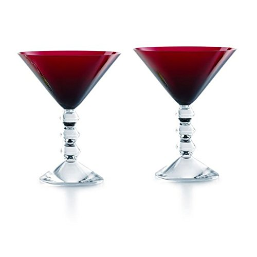Baccarat Crystal Vega Martini Glass Red Set of 2 by Baccarat Crystal