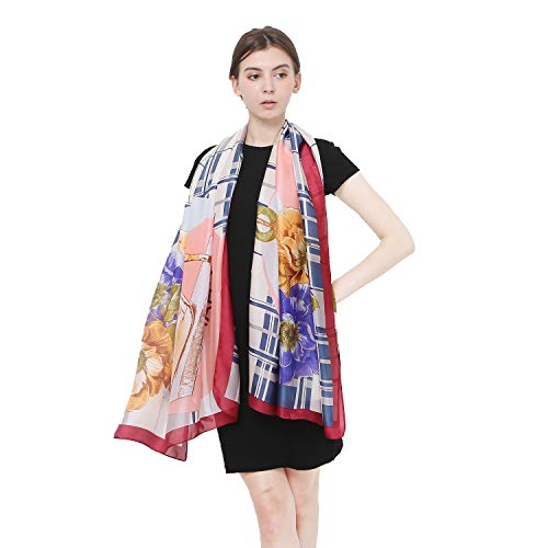 Silk Scarf for Women Fashion Large Sunscreen Satin Shawls Long Lightweight Floral Pattern Scarves for Ladies (Red)
