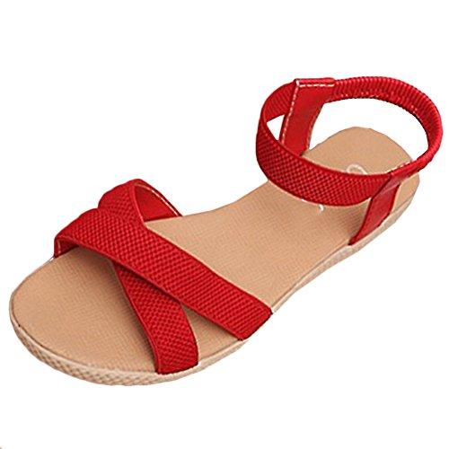 Scothen Sandalias de tacón Casual tarde Peep Toe mujeres de las sandalias planas de la hebilla de las sandalias romanas sandalias planas del Rhinestone correa del clip zapatos deslizadores de Bohemia Red