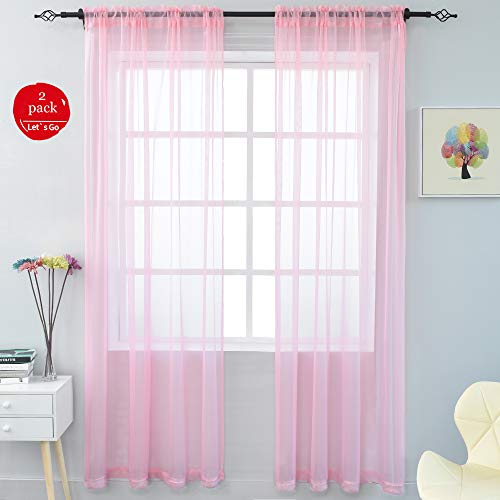 KEQIAOSUOCAI 2 Pieces Solid Color Sheer Rod Pocket Curtains Panels for Bedroom Living Room(Pink,52Wx84L,Set of 2)]()