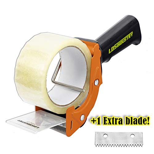 - Rapid-Replace Tape Dispenser Gun with 2 Inch X 60 Yard Tape Roll (Transparent) and Extra Blade, LDS Industry Lightweight Ergonomic Heavy Handheld Duty Tape Cutter Set for Packaging and Box Sealing