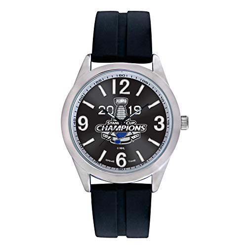 Game Time NHL St. Louis Blues Mens Varsity Stanley Cup Champions Watch, Black/Silver, One Size