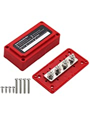 """T Tocas 300A Bus Bars Heavy Duty Module Design Power Distribution Block Busbar Box with 4X M8(5/16"""") Terminal Studs(Red)"""