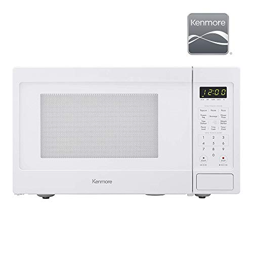 Kenmore Elite 70922 0.9 cu. ft Small Compact 900 Watts 10 Power Settings, 12 Heating Presets, Removable Turntable, ADA Compliant Countertop Microwave, White
