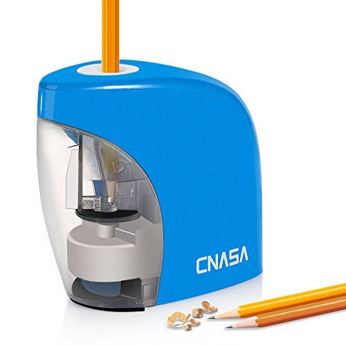 CNASA Pencil Sharpener,Battery DC Powered Operation,for Office,Home, School.Stainless Steel Helical Blade with 3000 Times Lifetime.(Blue).