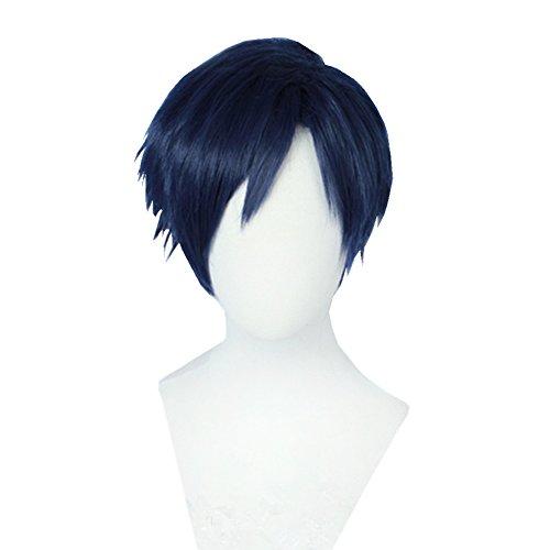 (Bingooutlet Dark Blue Short Layered Cosplay Wig Halloween Party Hair Costume Fancy Dress)
