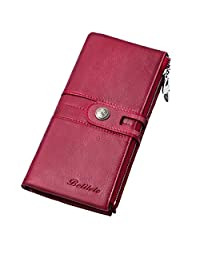 BETITETO Genuine Leather Womens Wallets, Slim RFID Blocking Clutch Purse, Large Capacity Card Holder with Zipper Pockets Red