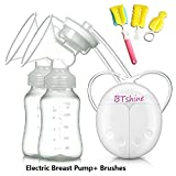 Manual Breast Pump BTshine Silicone Hand Pump Food Grade BPA-Free Milk Collector for Baby Breastfeeding with 2 Bottles, 1 Nipple and Brushes