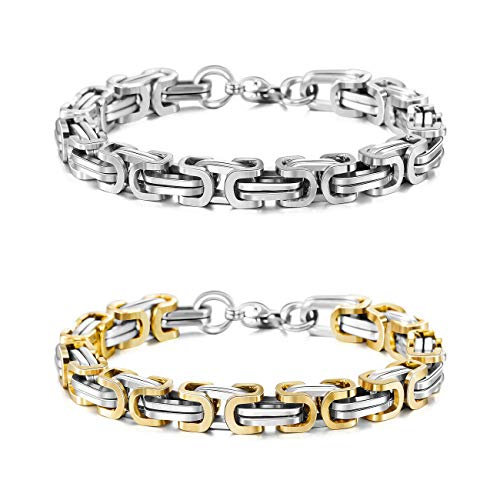 MOWOM Silver Gold Two Tone 8mm Wide 2PCS Stainless Steel Bracelet Byzantine Chain Link Set 8.5 Inch