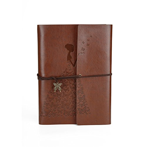 DIY Photo Album Self-Adhesive Small Leather Scrapbook Album Photo Book for Women Travel Graduation Family Anniversary Wedding Gift(Small Brown Butterfly Girl)