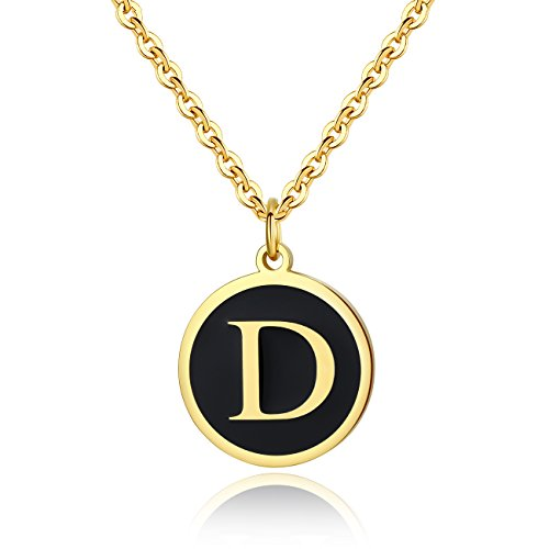 REVEMCN Stainless Steel Alphabet and Bible Verse Proverbs 4:23 Pendant Necklace for Men Women with Keyring and 22'' Chain (Gold-Tone: D) (Stainless Gold Steel Keychain)