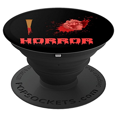 I Love Horror - Bloody Stake with Realistic Heart on Black - PopSockets Grip and Stand for Phones and Tablets