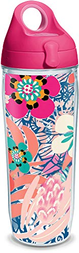 (Tervis 1318925 Bright Wild Blooms Insulated Travel Tumbler with Wrap and Lid 24 oz Water Bottle - Tritan, Clear)