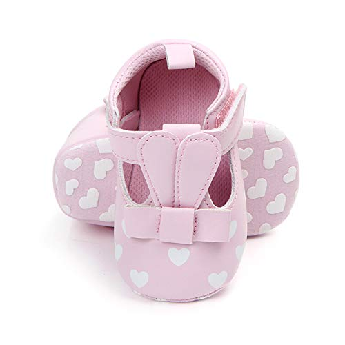 Baby Cute Shoes Newborn Animal Pattern Infant Moccasins Print Love Soft Sole Shoes PU Leather Rabbit Long Ear Toddler For 0-18M 7-13months/_12cm, Pink