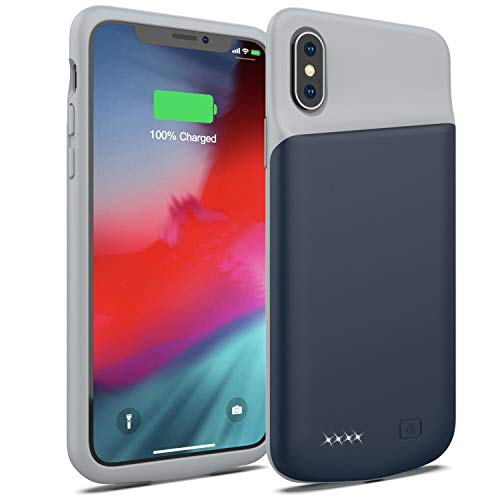 Smiphee Battery Case for iPhone X/XS, 4000mAh Portable Protective Charging Case Extended Rechargeable Battery Pack Charger Case Compatible with iPhone X/XS / 10 (5.8 inch) (Blue) ()