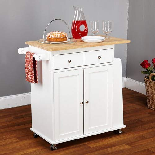 Target Marketing Systems Sonoma Collection Two-Toned Rolling Kitchen Cart with Drawer, Cabinet, and Spice Rack, White/Natural by Target Marketing Systems (Image #3)