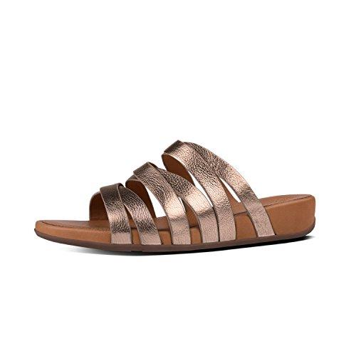 FitFlop Lumy Leather Slide Sandals Bronze UK3 Bronze