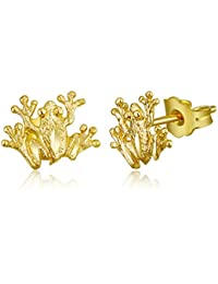 Ladies 14k Yellow Gold Polished Frog Stud Earrings (8 X 9mm)