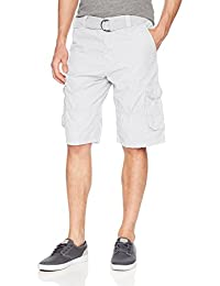 Southpole Men's Belted Ripstop Basic Cargo Short with Washing All Season