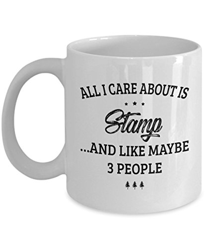 (Stamp Mug - I Care And Like Maybe 3 People - Funny Novelty Ceramic Coffee & Tea Cup Cool Gifts for Men or Women with Gift)