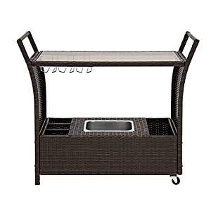 Do4U Patio Rattan Wicker Trolley Cart Outdoor Serving Bar Cart With Ice Bucket(9008-BN)