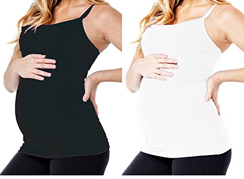 Maternity Clothes Tank Top Super Stretch Long Nursing Cami Camisole (Maternity, 2 Pack- Black White) (Underwear Cami)
