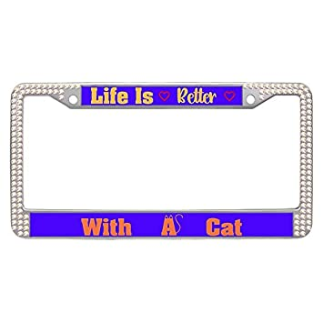 Amazon.com: Hensonata Colorful Glitter Diamond Car Tag Frame, Life ...