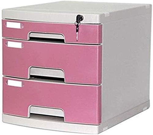 ファイルキャビネットのフォルダ3引き出しA4デスクトップファイルストレージストレージボックス - ピンク29.5X39.4X32.5cmホームオフィス用家具 ファイリングキャビネット