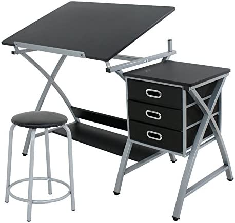 Super Deal Adjustable Drafting Table Art Craft Drawing Desk Craft Station Art Hobby Folding w Stool and Drawers