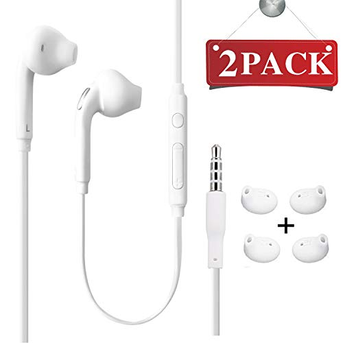 White Free Hands Headset (Headset 3.5mm Premium Sound Handsfree Earphones Mic Dual Earbuds Headphones Earpieces In-Ear Stereo Wired White Fit Compatible All Samsung Galaxy S6 Edge+/ S6/ Note 8/Note 9/ S8/S8+ S9/S9+ (Pack of 2))