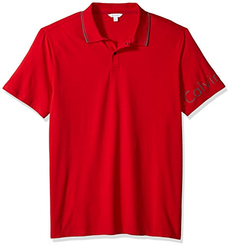 (Calvin Klein Men's Short Sleeve Cotton Fashion Polo Shirt, Clash/red, Large)