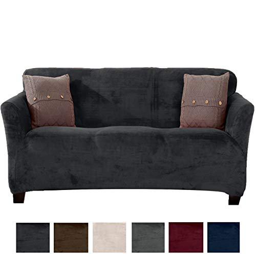 (Great Bay Home Modern Velvet Plush Strapless Slipcover. Form Fit Stretch, Stylish Furniture Cover/Protector. Gale Collection Brand. (Sofa, Dark Grey))