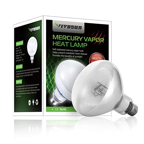 (VIVOSUN Reptile Heat Lamp Bulb - 125W High Intensity Self-Ballasted UVA UVB Mercury Vapor Light Bulb for Reptile, Amphibian and Birds)