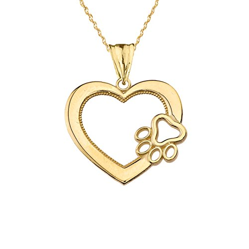 Dazzling 14k Yellow Gold Open Heart Dog Paw Print Charm Pendant Necklace 16
