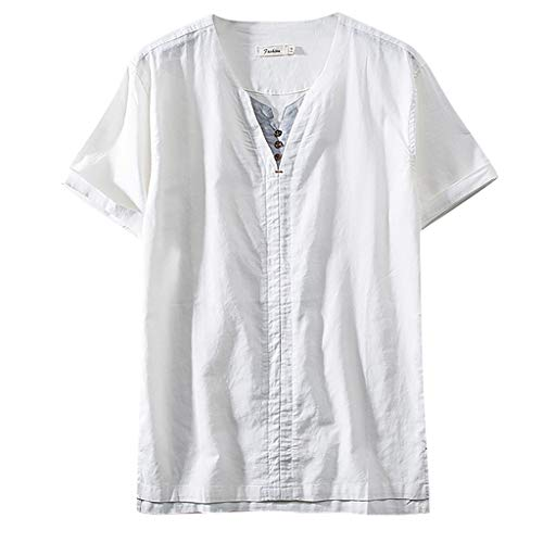 Beautyfine Men shirt T-Shirt Cotton Linen Solid Color Short Sleeve Breath Tops Blouse White]()