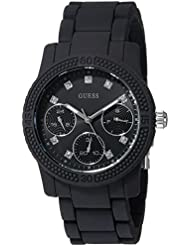 GUESS Womens Silicone Casual Watch, Color: Black (Model: U0944L4)