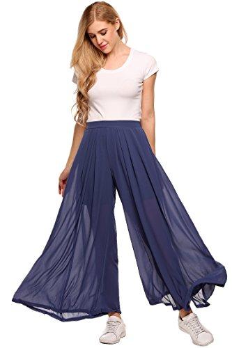 Zeagoo Solid Textured Wide Leg Flare Box Pleat Palazzo High Tie Waist Pants Pleated Plain Palazzo Pants (Flare Textured Pants)